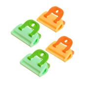 OUNONA Plastic Bag Clips Kitchen Fridge Food Sealer Clamps Moisture Proof Keeping Fresh Clips 4PCS