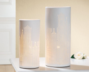 Gilde Porzell Lampe Skyline Prickellook weiss 35 cm E14 max 40 W 34079