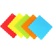 Fittoway 5pcs Silicone Pot Holders Heat Resistant Wave Trivet Mat Non-Slip Lace Coasters for Kitchen Dinning