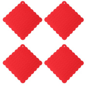 Fittoway 4pcs Silicone Pot Holders Non-Slip Lace Coasters Heat Resistant Wave Trivet Mat for Kitchen Dinning