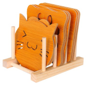 Fittoway 9 In 1 Kitchen Heat Resistant Wood Trivet Hot Pot Pads Mats Cup Coaster with Stand Holder