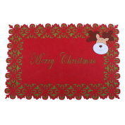 Demiawaking Merry Christmas Red Placemat Beer Wine Coffee Drinks Pad Dinning Table Mat Coaster Mats for Xmas Kitchen Home Decor