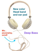 Blingustyle new design Bling Spike Fashion Ear-Cup headphone with MIC/colour headband ear pad DJ headphone ,same colour band, ear-pads, wire. mic , on/off (pause/play), deep bass founctions. silver 2