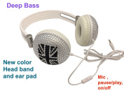 blingustyle Iridescent crystal Union jack design fashion Ear-Cup with MIC/colour headband ear pad DJ headphone ,same colour band, ear-pads, wire. mic , on/off (pause/play), deep bass founctions .