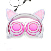 USB Rechargeable Cat Ear Wired Flashing Light Earphones Foldable Adjustable Hearsets Flash Blue Light for kids