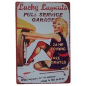 Retro Metal Tin Sign,Shiningup Vintage Pin Up Girl and Car Tin Poster for the Garage Shop