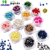 Magicdo12 Nail Decoration Beads Kit,Faux Pearls Cabochons for Crafts,3D Glow Nail Art Decorations Beads,Mixed Sizes Faux Crystal Pearls,Mixed Sizes Faux Crystal Pearls,Multicolor of Round Pearl Beads