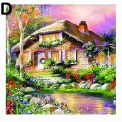 Gemini_mall® Diamond Painting Full Kits 5D DIY Handmade Rhinestone Cross-Stitching Set Mosaic Home Room Decoration Sweet Cabin
