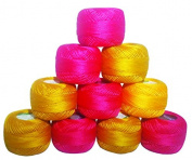 10 Anchor Pearl Cotton Balls / Size 8 (85 Metres each) / 10 Coloured Crochet Cotton Thread-10gm Per Ball- Knitting, Lacey Craft- 85 Metres
