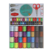 64 Spools Polyester Sewing Threads Sewing Machine Threads with Flexible Ruler Scissors Needle