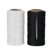 Tenn Well 260M x 2 Rolls Waxed Thread, 150D 1MM Flat Sewing Waxed String with Needles for Leather DIY Project