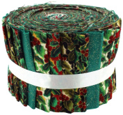 Fabric Freedom Christmas Holly and Ivy Jelly Baby Roll, 100% Cotton, Multicoloured, 9 x 9 x 7 cm