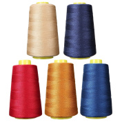 KINGSO 5pcs 5 Assorted Colours 1300 Yard Each Sewing Threads Repair Thread Polyester Spools Sewing Machine Threads