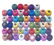 50 Multicolor Anchor Pearl Cotton Balls / Size 8 (85 Metres each) / 50 Coloured Crochet Cotton Thread-10gm Per Ball- Knitting, Lacey Craft- 85 Metres