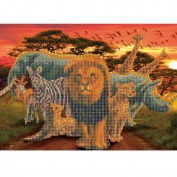 5D Diamond Painting Kit DIY Rhinestone Embroidery Cross Stitch Arts Craft For Home Wall Decors Prairie Animals Lion Zebra Cheetah Elephant Giraffe Rhinoceros 11.8*15.7 inch