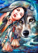 5D Diamond Painting Kit DIY Rhinestone Embroidery Cross Stitch Arts Craft For Home Wall Decors 11.8*15.7 inch (30*40 cm) Wolf and Girl