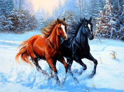 5D Diamond Painting Kit DIY Rhinestone Embroidery Cross Stitch Arts Craft For Home Wall Decor 11.8*15.7 inch (30*40 cm).Dark Horse Brown Horse