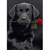 5D Diamond Painting Kit DIY Rhinestone Embroidery Cross Stitch Arts Craft For Home Wall Decors Black Dog & Rose 11.8*15.7 inch