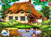 5D Diamond Painting Kit DIY Rhinestone Embroidery Cross Stitch Arts Craft For Home Wall Decors 11.8*17.7 inch (30*45 cm) .Pastoral Hut