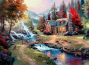 5D Diamond Painting Kit DIY Rhinestone Embroidery Cross Stitch Arts Craft For Home Wall Decors 11.8*15.7 inch (30*40 cm) .Mountain Hut