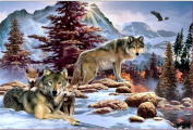 5D Diamond Painting Kit DIY Rhinestone Embroidery Cross Stitch Arts Craft For Home Wall Decors 11.8*17.7 inch (30*45 cm) .Snow Wolf
