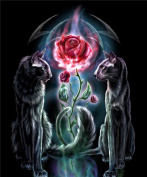 5D Diamond Painting DIY Diamond Painting Embroidery Cross Crafts Stitch DIY Kits Home Decor 5D Diamond Rhinestone Pasted Embroidery Painting Cross Stitch Black Wolf Rose