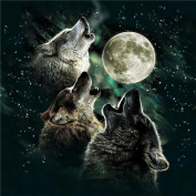 5D Diamond Painting DIY Diamond Painting Embroidery Cross Crafts Stitch DIY Kits Home Decor 5D Diamond Rhinestone Pasted Embroidery Painting Cross Stitch The Roaring Wolf at Night Pattern