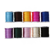 Demiawaking 10 Rolls of Nylon Beading Thread Braided Cord for Beads DIY Jewellery Making Mixed Colours---2.0mm