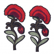 Demiawaking 2Pcs Red Flower Embroidery Iron on Patches Sew on Patches and Badges Embroidery Applique Patches for Jeans, Jackets, Clothing, Bags