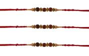 3 x Traditional 3 Rudraksha Beading Rakhi Thread/Rakhi Bracelet/Bhaiya Series