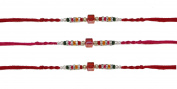 3 x Simple Metallic Multicoloured Diamante Beaded Rakhi Thread/Rakhi Bracelet/Bhaiya Series