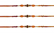3 x Traditional Rudraksha and Multi-Coloured Beaded Rakhi Thread/Rakhi Bracelet/Bhaiya Series]