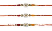 3 x Beautiful Two-Coloured Diamante Golden Beaded Rakhi Thread/Rakhi Bracelet/Bhaiya Series