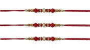 3 x Simple Red, Diamante and Wooden Beadiing Rakhi Thread/Rakhi Bracelet/Bhaiya Series