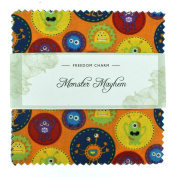 Fabric Freedom Monster Mayhem Freedom Charm, 100% Cotton, Multicoloured, 13 x 13 x 1.5 cm