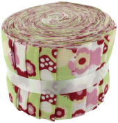 Fabric Freedom Flower Faries Green Jelly Baby Roll, 100% Cotton, Multicoloured, 9 x 9 x 7 cm