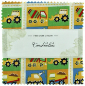 Fabric Freedom Construction Yellow Freedom Charm, 100% Cotton, Multicoloured, 13 x 13 x 1.5 cm