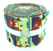 Fabric Freedom Camping Green Jelly Baby Roll, 100% Cotton, Multicoloured, 9 x 9 x 7 cm