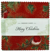 Fabric Freedom Merry Christmas Freedom Charm, 100% Cotton, Multicoloured, 13 x 13 x 1.5 cm