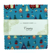 Fabric Freedom Camping Teal Freedom Charm, 100% Cotton, Multicoloured, 13 x 13 x 1.5 cm