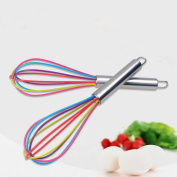 Fixuk Stainless Steel Handle Egg Whisk Silicone Kitchen Mixer Balloon Wire Egg Beater
