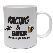 The Classic Image Company - Funny Horse Racing Mug - RACING & BEER LIVING THE DREAM