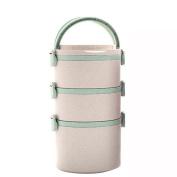 ASDYO Sealed Environmentally Friendly Round Multi-layer Lunch Box Fresh Lunch Box,Green-三层