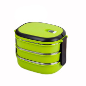 ASDYO Student Multi-layer Stainless Steel Insulation Lunch Box Lunch Box,Green