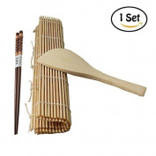 Waterstone Sushi Rolling Maker Bamboo Material Roller DIY Mat +A Rice Paddle +A Pair Chopsticks