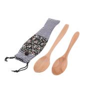 sourcingmap® Wood Family School Food Meat Fruit Salad Serving Tool Spoon 2 in 1 Multicolor