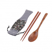 sourcingmap® Wood Travel Food Meat Vegetable Serving Tool Chopsticks Spoon Set Multicolor