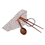Albeey Portable Wooden Cutlery Sets Chopsticks Spoon Travel Set With Cloth Bag