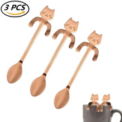 CosCosX 3 Pcs Stainless Steel Coffee Spoon Mini Cat Kitty, Tea Soup Sugar Dessert Appetiser Seasoning Bistro Spoon, Hanging Cup Spoon Kitchen Gadget ROSEGOLD