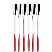 Bugatti Glamour Set Cocktail Spoons, Stainless Steel, Red